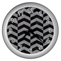 Chevron2 Black Marble & Gray Colored Pencil Wall Clocks (silver)  by trendistuff