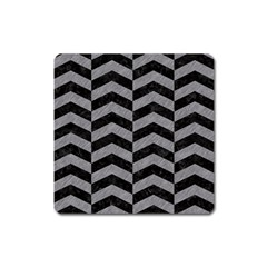 Chevron2 Black Marble & Gray Colored Pencil Square Magnet by trendistuff
