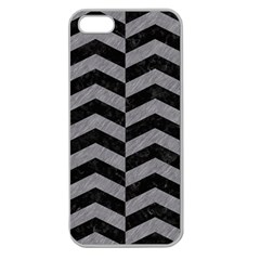 Chevron2 Black Marble & Gray Colored Pencil Apple Seamless Iphone 5 Case (clear)