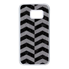 Chevron2 Black Marble & Gray Colored Pencil Samsung Galaxy S7 White Seamless Case