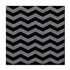 Chevron3 Black Marble & Gray Colored Pencil Face Towel by trendistuff