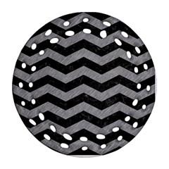 Chevron3 Black Marble & Gray Colored Pencil Ornament (round Filigree) by trendistuff