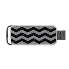 Chevron3 Black Marble & Gray Colored Pencil Portable Usb Flash (two Sides) by trendistuff