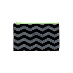 Chevron3 Black Marble & Gray Colored Pencil Cosmetic Bag (xs) by trendistuff