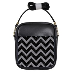 Chevron9 Black Marble & Gray Colored Pencil Girls Sling Bags by trendistuff