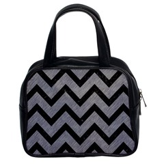 Chevron9 Black Marble & Gray Colored Pencil (r) Classic Handbags (2 Sides) by trendistuff