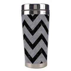 Chevron9 Black Marble & Gray Colored Pencil (r) Stainless Steel Travel Tumblers by trendistuff