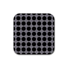 Circles1 Black Marble & Gray Colored Pencil (r) Rubber Square Coaster (4 Pack)  by trendistuff