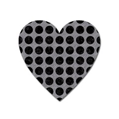 Circles1 Black Marble & Gray Colored Pencil (r) Heart Magnet by trendistuff
