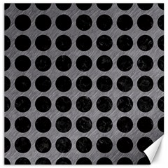 Circles1 Black Marble & Gray Colored Pencil (r) Canvas 16  X 16   by trendistuff