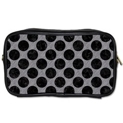 Circles2 Black Marble & Gray Colored Pencil (r) Toiletries Bags 2 Side by trendistuff