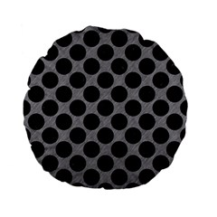 Circles2 Black Marble & Gray Colored Pencil (r) Standard 15  Premium Flano Round Cushions by trendistuff