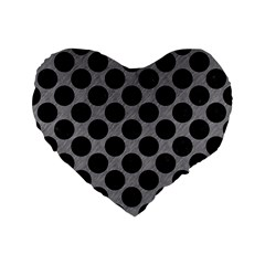 Circles2 Black Marble & Gray Colored Pencil (r) Standard 16  Premium Flano Heart Shape Cushions by trendistuff