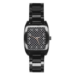 Circles3 Black Marble & Gray Colored Pencil Stainless Steel Barrel Watch by trendistuff