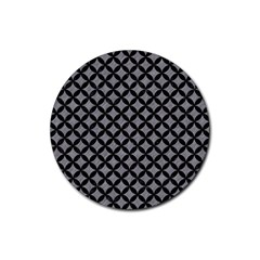 Circles3 Black Marble & Gray Colored Pencil (r) Rubber Coaster (round)
