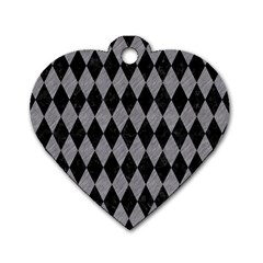 Diamond1 Black Marble & Gray Colored Pencil Dog Tag Heart (two Sides) by trendistuff