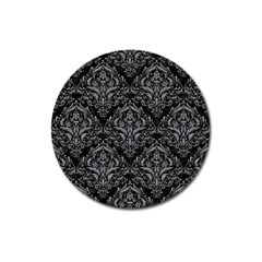 Damask1 Black Marble & Gray Colored Pencil Magnet 3  (round) by trendistuff