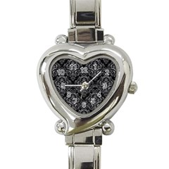 Damask1 Black Marble & Gray Colored Pencil Heart Italian Charm Watch by trendistuff