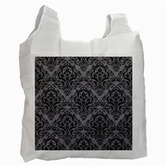 Damask1 Black Marble & Gray Colored Pencil (r) Recycle Bag (two Side)