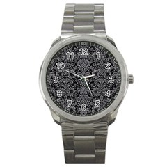 Damask2 Black Marble & Gray Colored Pencil Sport Metal Watch by trendistuff