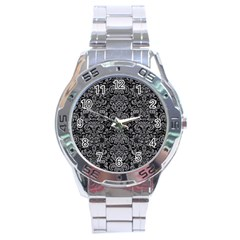 Damask2 Black Marble & Gray Colored Pencil Stainless Steel Analogue Watch by trendistuff