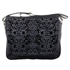 Damask2 Black Marble & Gray Colored Pencil Messenger Bags by trendistuff