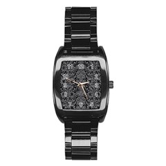 Damask2 Black Marble & Gray Colored Pencil Stainless Steel Barrel Watch by trendistuff