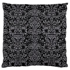 Damask2 Black Marble & Gray Colored Pencil Large Flano Cushion Case (one Side) by trendistuff