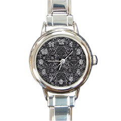 Damask2 Black Marble & Gray Colored Pencil (r) Round Italian Charm Watch by trendistuff