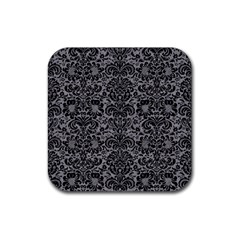 Damask2 Black Marble & Gray Colored Pencil (r) Rubber Square Coaster (4 Pack)  by trendistuff