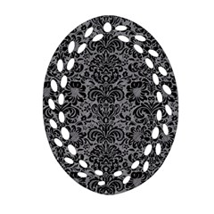 Damask2 Black Marble & Gray Colored Pencil (r) Ornament (oval Filigree) by trendistuff