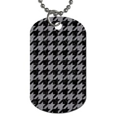 Houndstooth1 Black Marble & Gray Colored Pencil Dog Tag (one Side) by trendistuff