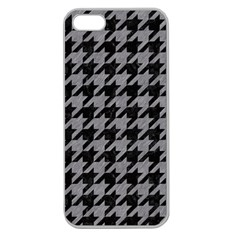 Houndstooth1 Black Marble & Gray Colored Pencil Apple Seamless Iphone 5 Case (clear) by trendistuff