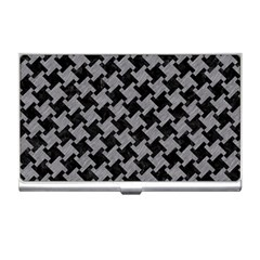 Houndstooth2 Black Marble & Gray Colored Pencil Business Card Holders