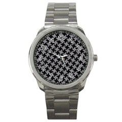 Houndstooth2 Black Marble & Gray Colored Pencil Sport Metal Watch by trendistuff
