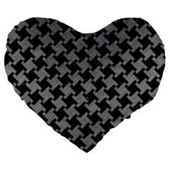 Houndstooth2 Black Marble & Gray Colored Pencil Large 19  Premium Heart Shape Cushions by trendistuff