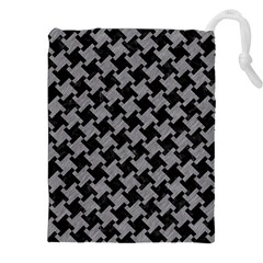 Houndstooth2 Black Marble & Gray Colored Pencil Drawstring Pouches (xxl) by trendistuff