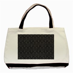 Hexagon1 Black Marble & Gray Colored Pencil Basic Tote Bag by trendistuff
