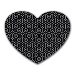 Hexagon1 Black Marble & Gray Colored Pencil Heart Mousepads by trendistuff