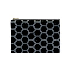 Hexagon2 Black Marble & Gray Colored Pencil Cosmetic Bag (medium)  by trendistuff