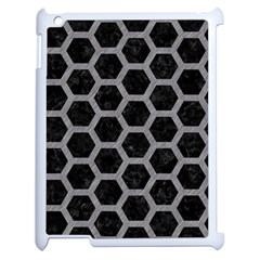Hexagon2 Black Marble & Gray Colored Pencil Apple Ipad 2 Case (white) by trendistuff