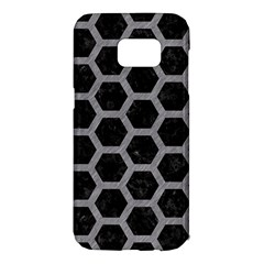 Hexagon2 Black Marble & Gray Colored Pencil Samsung Galaxy S7 Edge Hardshell Case by trendistuff