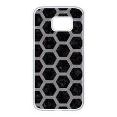Hexagon2 Black Marble & Gray Colored Pencil Samsung Galaxy S7 Edge White Seamless Case by trendistuff