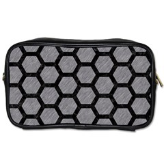 Hexagon2 Black Marble & Gray Colored Pencil (r) Toiletries Bags 2 Side by trendistuff