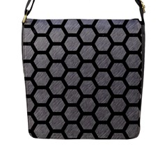 Hexagon2 Black Marble & Gray Colored Pencil (r) Flap Messenger Bag (l)