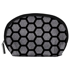 Hexagon2 Black Marble & Gray Colored Pencil (r) Accessory Pouches (large)  by trendistuff