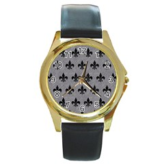 Royal1 Black Marble & Gray Colored Pencil Round Gold Metal Watch