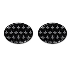 Royal1 Black Marble & Gray Colored Pencil (r) Cufflinks (oval) by trendistuff