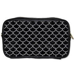 Scales1 Black Marble & Gray Colored Pencil Toiletries Bags 2 Side by trendistuff
