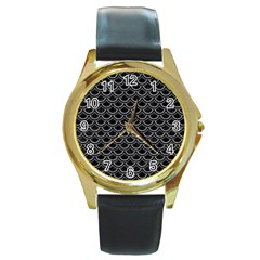 Scales2 Black Marble & Gray Colored Pencil Round Gold Metal Watch by trendistuff